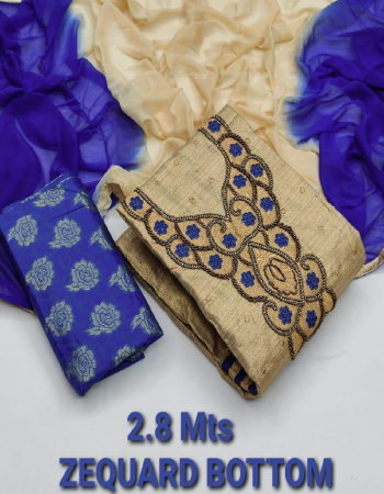 royal blue top - heavy khadi cotton - multi neck work | bottom - heavy cambric zaquard cotton (2.8m) | dupatta - naznin shaded print fabric jacquard work casual