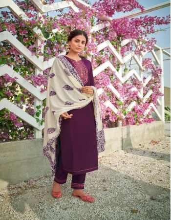 wine top - lining silk with fancy embroidery work | pant - lining silk with embroidery work | dupatta - pure mal print fabric embroidery work festive