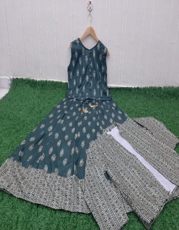 rama blue top & koti - cotton | length - 50+ fabric digital printed work casual