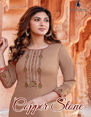 light brown top - fancy naylon viscose with embroidery work | bottom - rayon slub lycra with embroidery fabric embroidery work casual