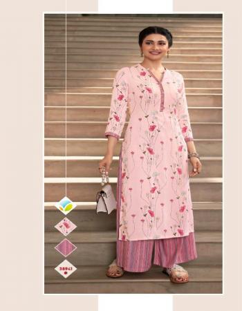 baby pink kurti - printed rayon | bottom - printed rayon fabric printed work festive