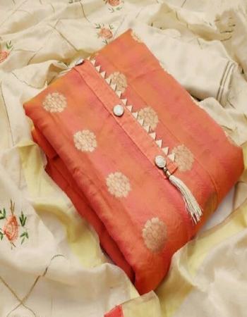 orange top - banarasi | bottom + inner - santoon ( 2.10 +1.50m) | dupatta - chanderi embroidery work fabric embroidery  work casual
