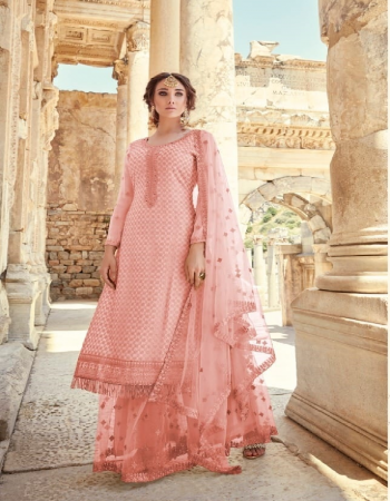 baby pink georgette fabric embroidery work casual
