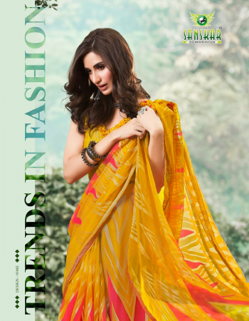 yellow satin georgette fabric printed work casual