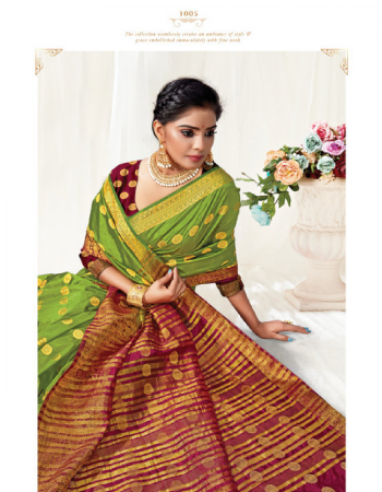green silk fabric weaving work festive