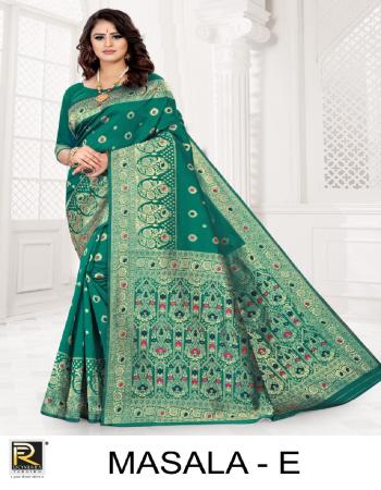 rama green premium silk  fabric weaving work casual