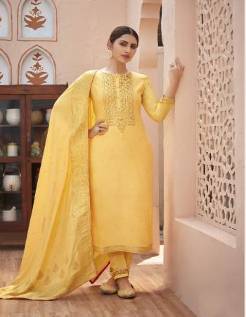 yellow top - pure jacquard with fancy khatli work ( cotton mal inner ) | bottom - pure heavy santoon with fancy work |dupatta - heavy pure jacquard fabric khatli work  work party wear