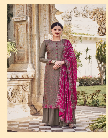 grey top - heavy chinon with heavy embroidery | dupatta - chinon with heavy embrodiery work | bottom & inner - dual santoon  fabric heavy embroidery work party wear