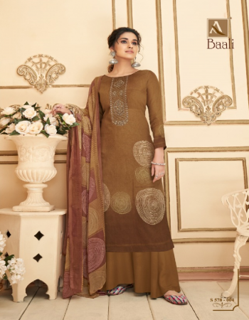brown top - pure zam digital style print with fancy embroidery and swarovski diamond work | bottom - pure cotton dyed solid | dupatta - pure nazneen chiffon digital style print fabric embroidery work ethnic