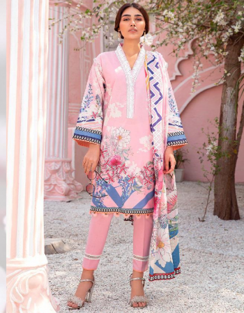 baby pink top - pure cotton printed embroidered patch with embroidery | dupatta - silver chiffon printed | bottom - semi lawn [ pakistani copy] fabric embroidery work casual
