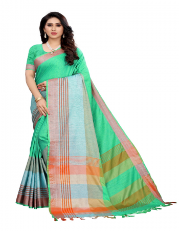 light green linen cotton  fabric jacquard + weaving work casual