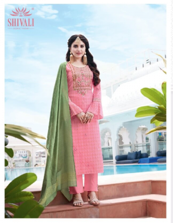 baby pink silk fabric embroidery work casual