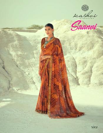 light brown chiffon fabric printed work casual