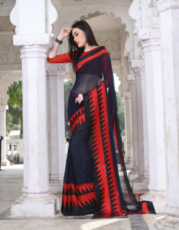 black georgette with satin patta fabric printed work casual