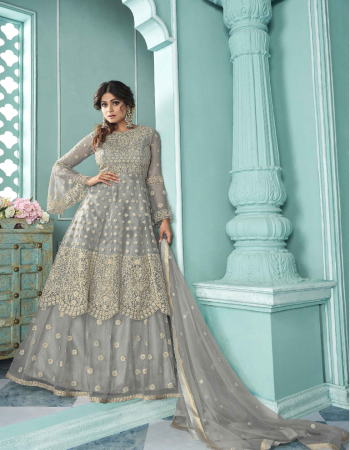 grey top - heavy net with codding embroidery work | stone |dupatta - heavy net with codding embroidery work with 4 side less | skirt flair - 3 m [ master copy ] fabric embroidery work runnning