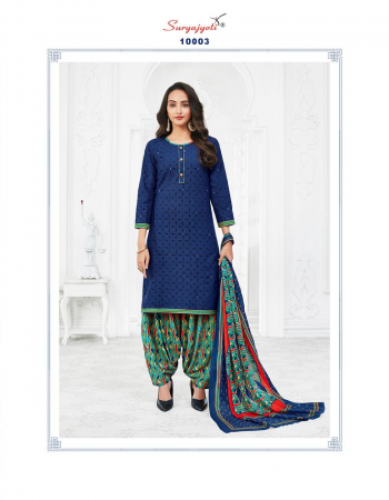 blue cotton fabric printed work party wear