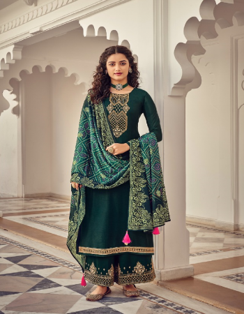 dark green top - heavy chinon with embroidery work | inner - dual santoon | dupatta - heavy chinon with digital print | bottom - dull santoon embroidery fabric embroidery work party wear