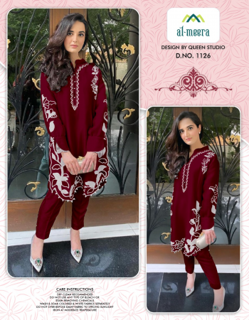 maroon faux georgette  fabric embroidery work casual