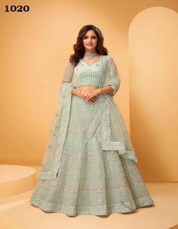 light green blouse & lehenga - net with heavy santoon inner | blouse  - beautifully crafted work & thread embroidery work with zarakan work on front side and back side | lehenga & dupatta  - beautifully craffted embroidery cording , sequance & thread work with heavy zarkan | dupatta - net fabric embroidery work casual