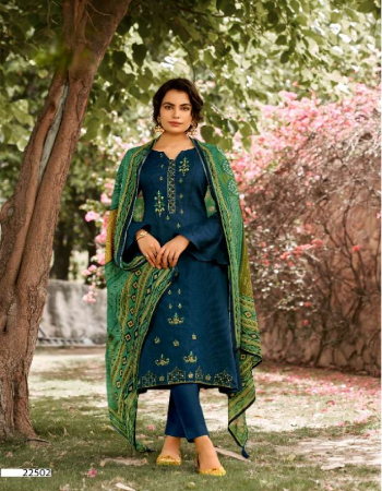 rama blue top - pure jam satin print with fancy panel placement embroidery and 2.50 m | dupatta - pure bemberg eric silk digital print excellent premium quality with tussels ( 2.50 m) | bottom - soft cotton ( 3.00 m) fabric embroidery work casual