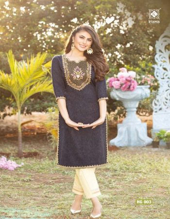 black top - viscos doby cotton jacquard dyed wid embroidery thread work | bottom - cotton flex rubi pent fabric embroidery work casual
