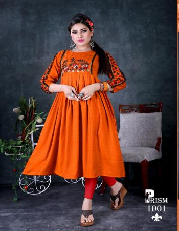 orange rayon  fabric embroidery work festive