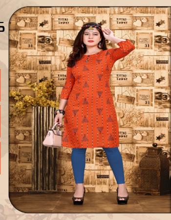 orange rayon  fabric printed work festive