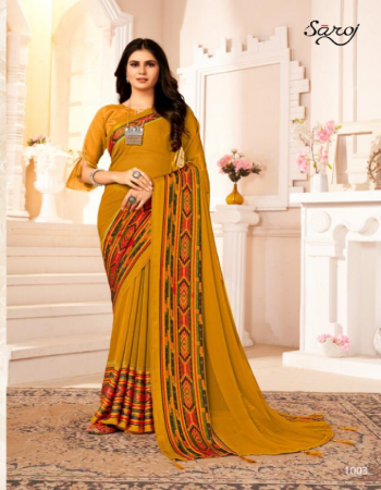 yellow soft georgette fabric printed work ethnic