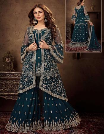 rama blue heavy net & georgette fabric thread emboidery + stone work work festive