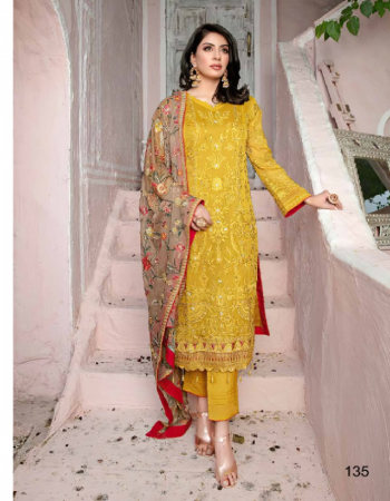 yellow top - georgette with heavy embroidery | bottom  inner - dul santoon | dupatta - chiffon with heavy embroidery [ pakistani copy ] fabric embroidery work casual