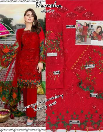 red top - georgette with heavy embroidery & additional work | bottom - dul santoon | dupatta - net heavy embroidery [ pakistani copy ] fabric embroidery work party wear