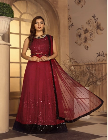 maroon top - heavy fox georgette with heavy embroidery work with seuqnace | bottom - heavy santoon | inner - heavy santoon | dupatta -  heavy nazmin with heavy embroidery work with sequance work [ master copy ] fabric embroidery work casual