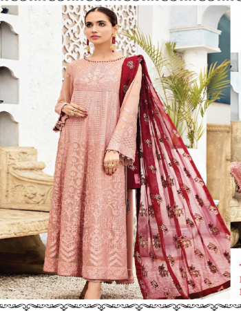 light pink top - georgette with heavy embroidery | bottom - dull santoon | dupatta - nazmeen embroidery work [ pakistani copy ] fabric embroidery work casual