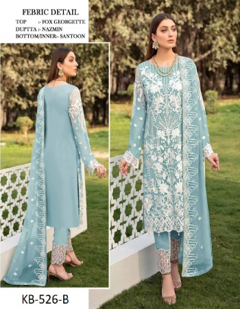 sky blue top - heavy fox georgette | dupatta - nazmin | bottom & inner - santoon [ master copy ] fabric embroidery work | sequance with stone  work casual