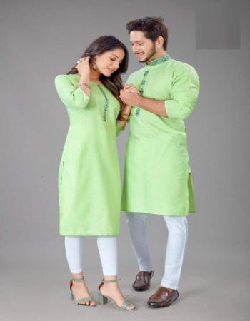parrot green sluby cotton fabric jacquard work casual