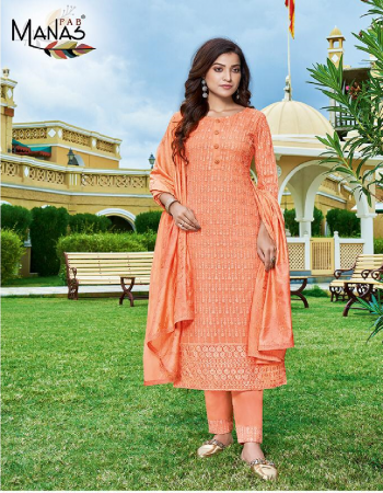 orange top - georgette with inner with schiffli work & back plain | bottom - heavy dul santoon with border lace work | dupatta - chanderi with chain stitch with 2 said border ( 2.25 m cut ) fabric schiffli work work casual