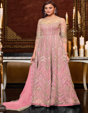baby pink top and dupatta - net | bottom and inner - satin & santoon fabric heavy embroidery work ethnic
