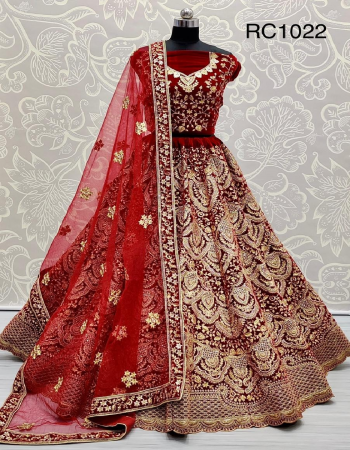 red lehenga - pure velevet with zari + badla + fancy embroidery - standard stiching with can can and canvas attached | size - free up to 46