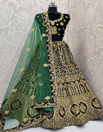 dark green lehenga - 9000 velevet with zari + badla and fancy dori embroidery work with standard stitching can can and canvas atteched - sixe - up to 44