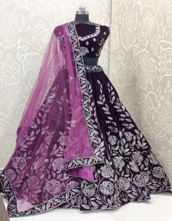 purple lehenga - pure velvet 9000 quality fused | inner - heavy japani crape | size - 42