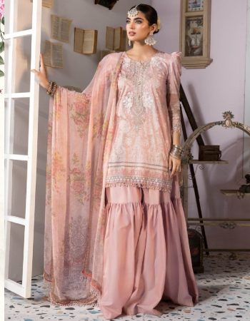 pink top - lawn cotton printed with heavy embroidery | bottom - semi lawn | dupatta - chiffon printed - mal mal cotton [ pakistani copy ] fabric heavy embroidery work casual
