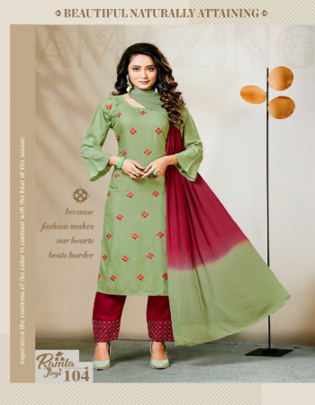 green rayon  fabric embroidery work casual