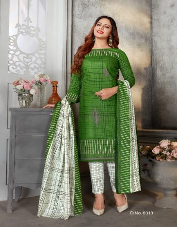 green pure cotton | top - 2.35 m | bottom - 2 m | dupatta - 2.25 m fabric printed work casual