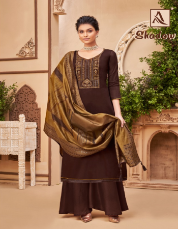 brown top - pure jam cotton with fancy embroidery and swarovski diamond work | bottom - pure cotton soild | dupatta - pure hand weave jacquard minakari dupatta with four side piping lace & tassles fabric embroidery work casual