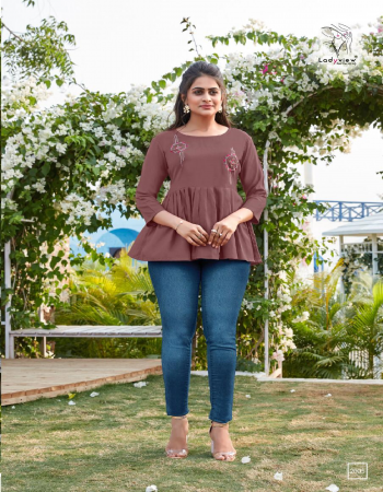 brown rayon  fabric embroidery work casual