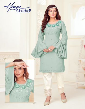blue top - pure georgette with inner santoon | bottom - pure cotton strachable fabric embroidery work ethnic