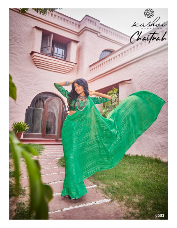 light green weightless georgette fabric weaving work casual