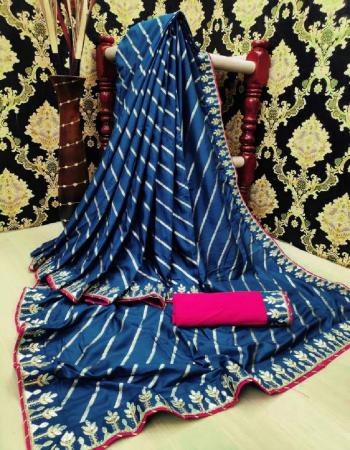 rama blue banarasi silk fabric weaving+ embroidery work festive