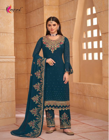 rama blue top - heavy blooming georgette with heavy self embroidery work with diamond | inner - heavy dull santoon | pent - heavy dull santoon pent self embroidery work & diamond | dupatta - heavy blooming georgette with heavy self embroidery work with diamond  fabric embroidery work casual