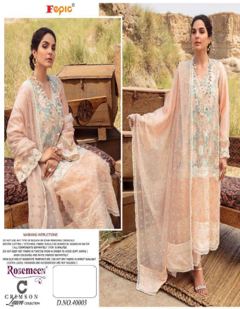 peach top - pure cotton with embroidered | bottom - semi lawn | dupatta - net embroidered / munga checks with embroidered bunches  [ pakistani copy ] fabric embroidered work casual